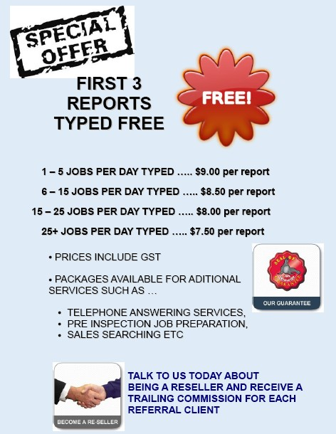 Working from home typist valuation report building inspection reports typed